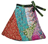 Jedzebel Short Reversible Silk-Blend Sari Wrap Skirt - DN19