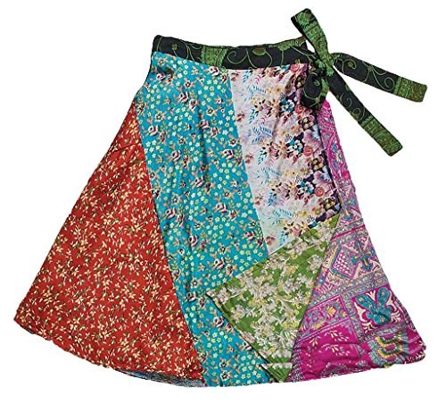 (Jedzebel Short Reversible Silk-Blend Patchwork Sari Wrap Skirt - DN19)