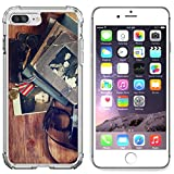 Luxlady Apple iPhone 6 Plus iPhone 6S Plus Clear case Soft TPU Rubber Silicone Bumper Snap Cases iPhone6 Plus iPhone6S Plus IMAGE ID 31431726 top view of vintage camera old pictures and war madal hist