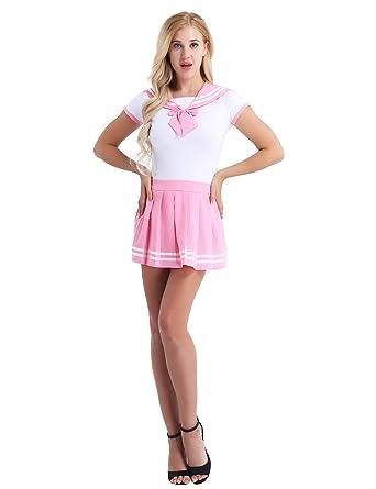 c54b8274c2ec1e iiniim Damen Uniform Set Schulmädchen Sailor Bodysuit+Faltenrock Cosplay  Schülerin Outfit Uniform Reizwäsche Nachtwäsche M