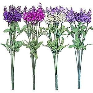 6pc Fake (Artificial) Flowers Set, Floral Garden 5-Stem Lavender Branch Bushes, 12.5 in 27
