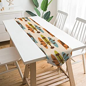 Table Runner with Tassels Mid Century Modern Atomic Triangles Dining Table Runners for Home Kitchen Party Wedding Decorations, 78.7x12.9inch