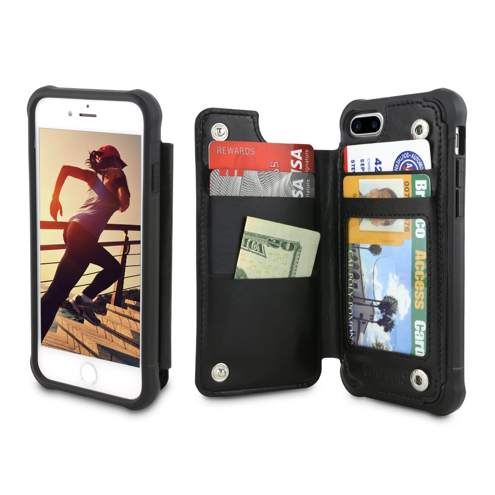 Gear Beast iPhone 7 Plus / 8 Plus Wallet Case, Top View Flip Folio Case for iPhone 7 Plus/8 Plus Slim PU Leather Cover 4 Slot Card Holder Including ID Holder Military Grade Protective Bumper Case