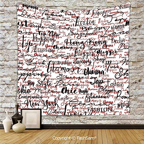 Tapestry Wall Blanket Wall Decor Ink Handwritten Popular Country Capitals with Fashion Fancy Words Art Home Decorations for Bedroom(W59xL78)]()