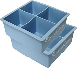 Cocktail Cube Extra Large Ice Cube Silicone Trays - 2.5 inches - Whiskey Ice - Keep Summer Drinks Cold - Freeze Food - Soap Making Molds - Light Blue - 2 Trays