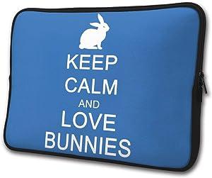 Keep Calm and Love Bunnies Laptop Sleeve Case Computer Cover Handbag