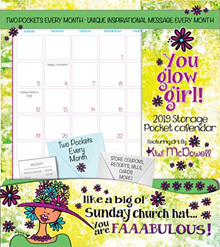 Shades of Color 2019 You Glow Girl Storage Pocket Wall Calendar -