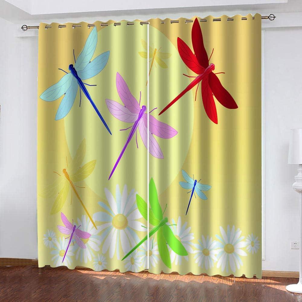 SFALHX Vorhang Gardinen Blickdicht mit /Ösen Verdunkelungsvorhang Thermovorhang lichtdicht f/ür Wohnzimmer Schlafzimmer K/üche 2 x B117 x H138cm//Gelb /& Libelle