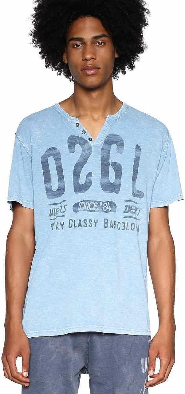 Desigual Mens T-Shirt Charlie 18SMTK69 Blue