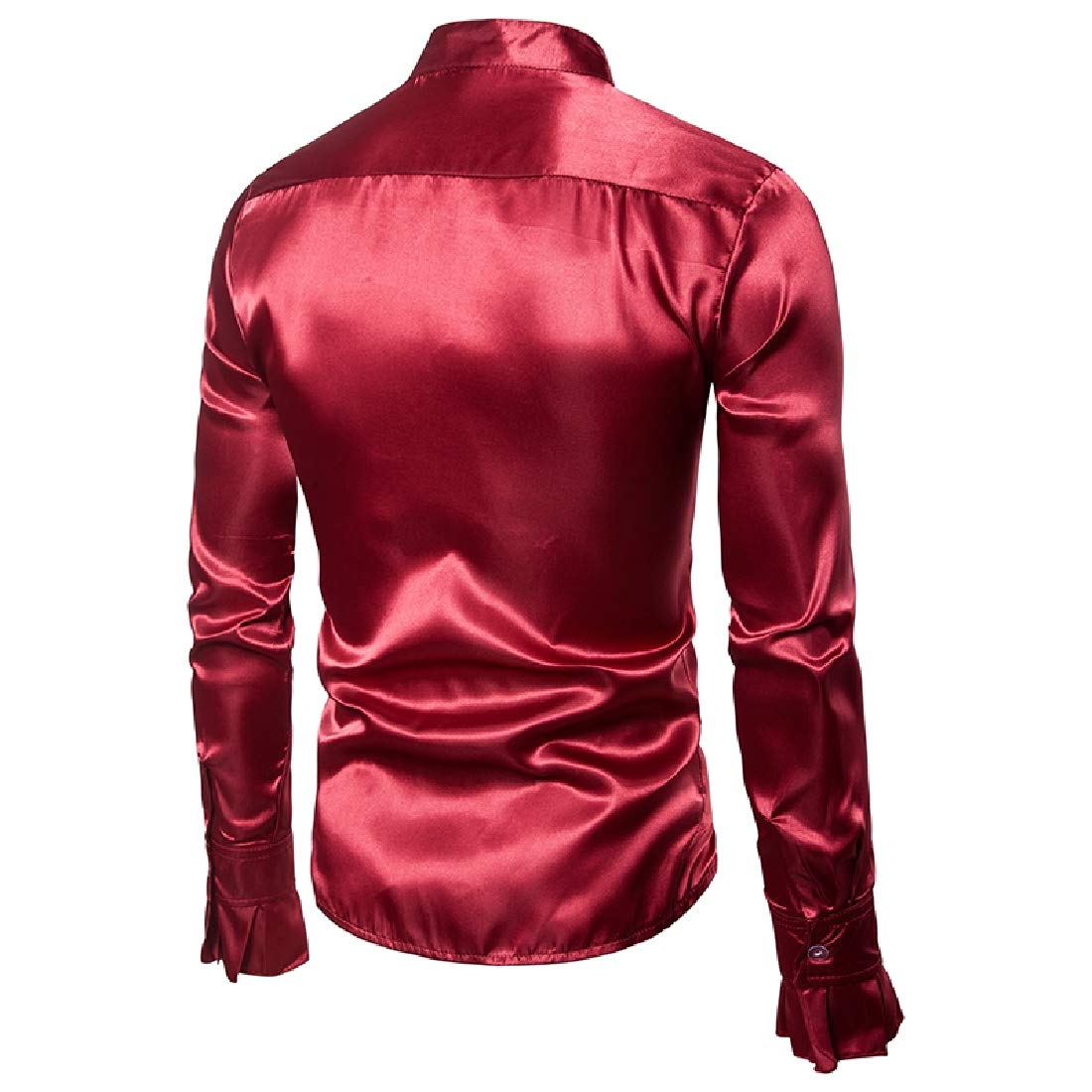 YUNY Mens Fashion Party Slim Fitted Button Down Stage Dress Shirts Wine Red XL