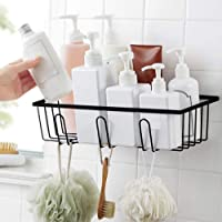 Luvina Adhesive Bathroom Shower Caddy Mental Bath Shelf Storage Basket No Damage Basket with Front Hooks for Kitchen,Bathroom-Black