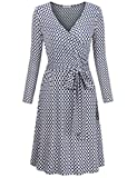 Plus Size Dresses for Women,MOOSUNGEEK Office Ladies Business Career Work Style Solid & Printed Surplice A-Line Wrap Dress Blue Apricot Flower XXL