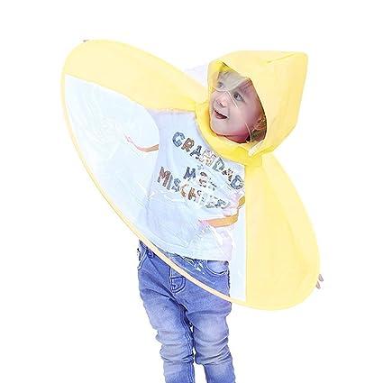 TAOtTAO Adorable Novedad Plegable UFO Chubasquero niños Sombrero Sombrero Paraguas Manos Libres Chubasquero para niños