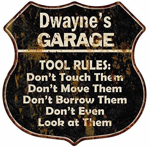 Price comparison product image Great American Memories Dwayne's Garage Tool Rules Black Rust Shield Sign Man Cave 12x12 Gift S127108