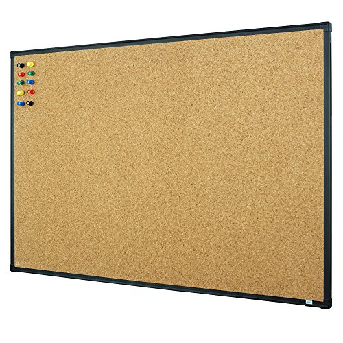 Lockways Bulletin Cork Board - 3 x 2 Notice board 36 x 24, Ultra-Slim Black Aluminium Frame U12118782609 For Home, School & Office (SET Including 10 Push Pins) (36 x 24