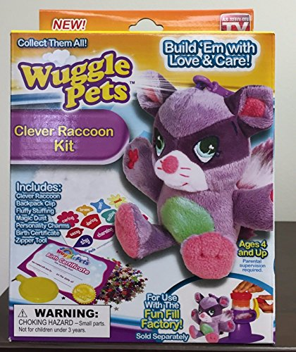 Wuggle Pets Clever Raccoon Kit As Seen ON TV Stuffed Animal Toys Backpack Clip .HN#GG_634T6344 - Clever Raccoons