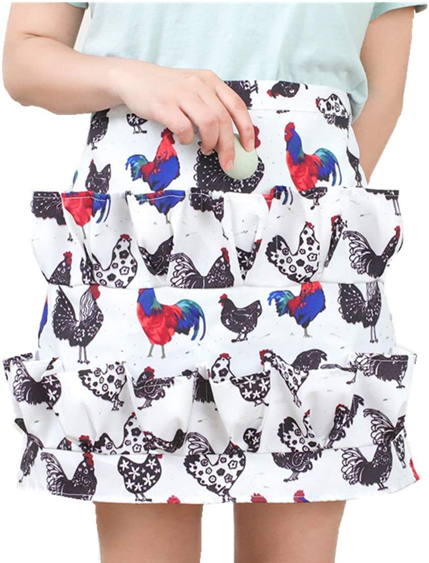 AOBBYBBS Multi-Pocket Chicken Egg Gathering Collecting Apron, Rooster Print Chicken Farm Unique Design (Adult)