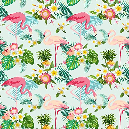 Leowefowa Vinyl Cartoon Pink Flamingo Backdrop 5X5FT Blooming Flowers Green Leaves Photography Background Kids Adults Party Decoration Wallpaper Photo Studio Props -