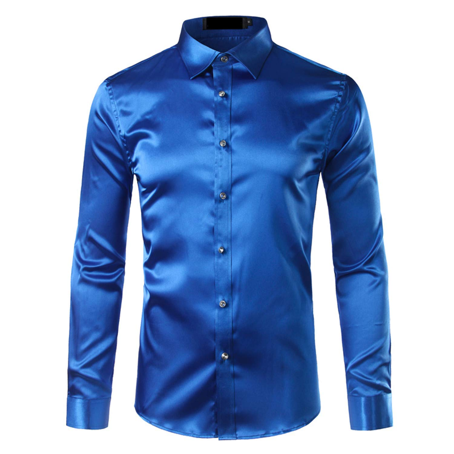 996ca19ce49fe Cherstee Silk Satin Shirt Men Chemise Homme Casual Long Sleeve Slim Fit  Mens Dress Shirts Business Wedding Male Shirt at Amazon Men s Clothing  store