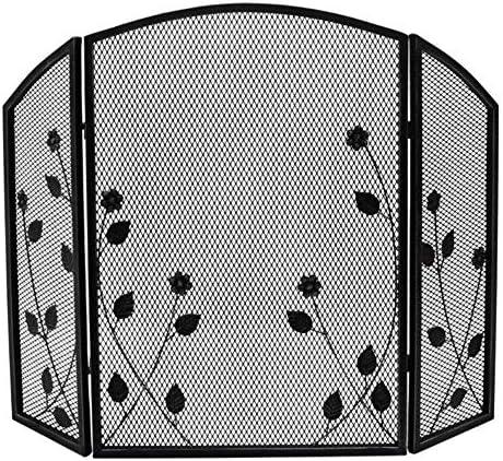 暖炉用品・アクセサリ 折り畳み式の3パネル暖炉スクリーン装飾メッシュ、赤ちゃんの安全証明ストーブスパークガード、錬鉄ウッドバーニングエンバープロテクター (Color : Black)