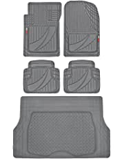 FlexTough Advanced Performance Liners - 5pc HD Rubber Floor Mats & Cargo Liner for Car SUV Auto (Gray)