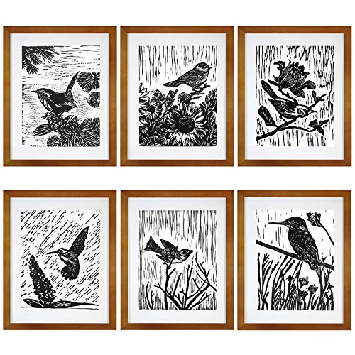 7eGrace Vintage Dictionary Art Prints Paintings Black and White Animals Bohemian Bird Woodcut Wall Art Handmade Poster for Home Decor 8''X10'' Unframed Set of 6 (Pictures Black Bird White And)