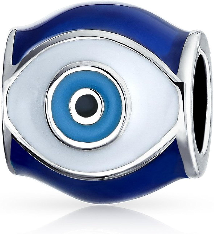 Blue Evil Eye Spiritual Good Luck Charm Barrel Bead For Teen For Women 925 Sterling Silver Fits European Bracelet