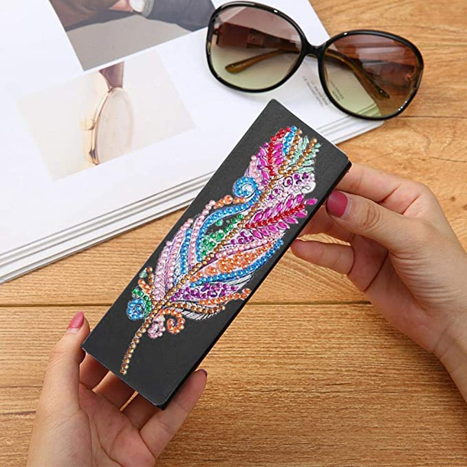 #1 Diamond Painting Glasses Case Alloyseed Eyeglass Case Eyeglasses Box Eye Glasses Portable Leather Sunglasses Storage Case Diamonds by Number Kit Protective Case for Glasses