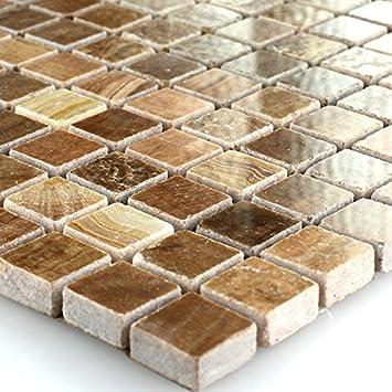 Marmor Mosaik Naturstein Mosaik Fliesen Braun Poliert Amazonde - Mosaik fliesen braun gold