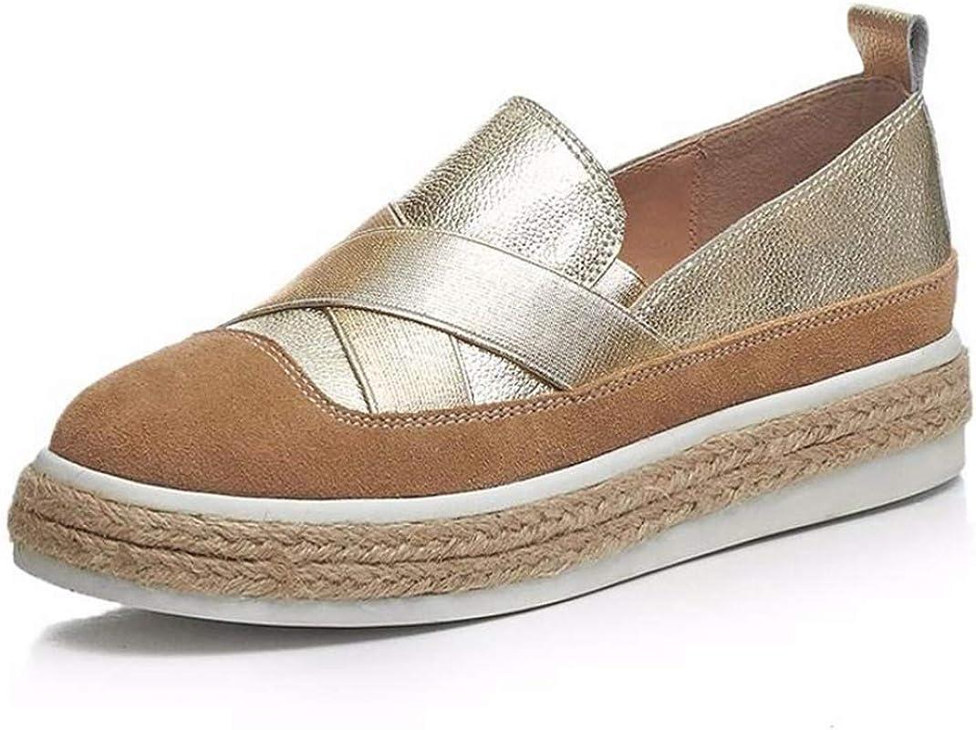 Mocasines de Mujer Zapatos de Cuero Antideslizantes Impermeables Zapatos de conducción Correa Cruzada de Moda Zapatos Deportivos Casuales Zapatos de Plataforma para Mujer