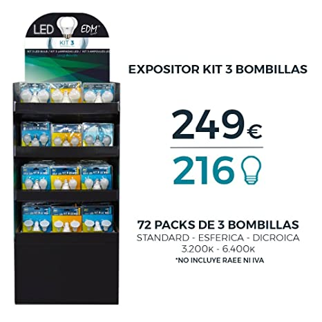 EDM Expositor LED con 72 BLISTERS DE 3 Bombillas VARIADAS Total 216