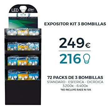 EDM Expositor LED con 72 BLISTERS DE 3 Bombillas VARIADAS Total 216: Amazon.es: Hogar