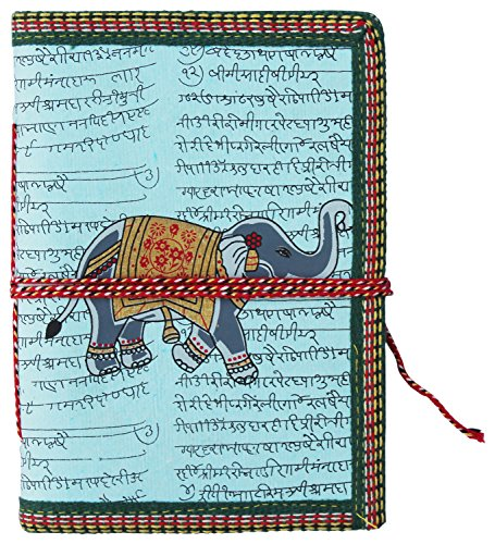"100% Handmade – Ancient Elephant Journal Notebook – SouvNear 6.6"" Olde Worlde Journal / Pocket Sketchbook Scrapbook / Travel Diary with Handmade Paper"