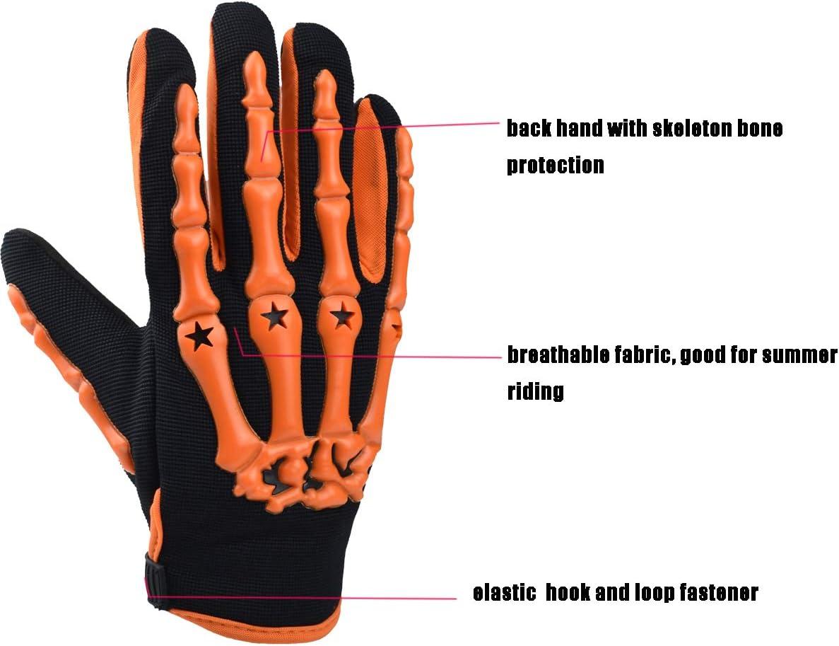 Medium, green Chitone Full Finger Skeleton Motocross Riding Gloves for Motorcycle