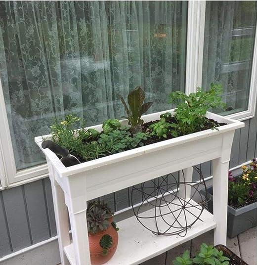 Macetero elevado con patas, maceta elevada para jardín, color blanco de 36 pulgadas de alto, maceta para patio, flores de pie, verduras y macetas para hierbas para exteriores: Amazon.es: Jardín