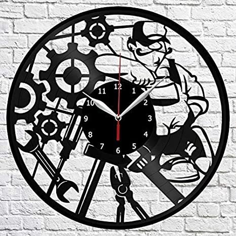 Mechanic Vinyl Record Wall Clock Decor Handmade 1735