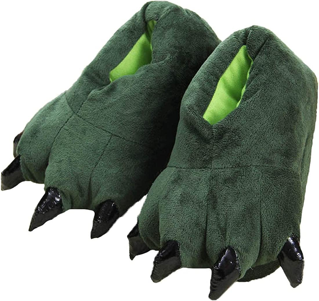 Unisex Paw Shoes Plush Dinosaur Claw Slippers Winter Warm Home Fuzzy Monster Slippers Halloween Fluffy Animal Costume