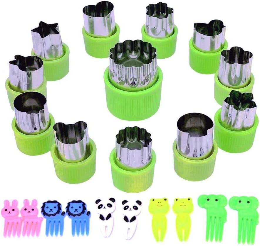 12 Pcs Stainless Steel Cookie & Vegetable & Fruit Cutters Shapes Sets, Mini Cookie Stamp Mold, Sandwich Cutters for Kids Baking+10 pcs Cute Cartoon Animals Food Picks and Forks Color Random