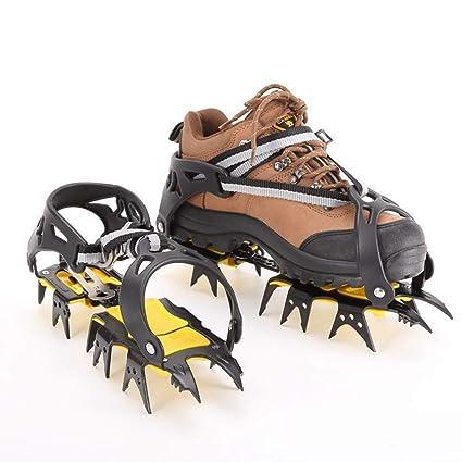 Traction Crampones Ligeros para Hielo y Nieve 18 Puntas Dientes De Acero Zapatos Antideslizante
