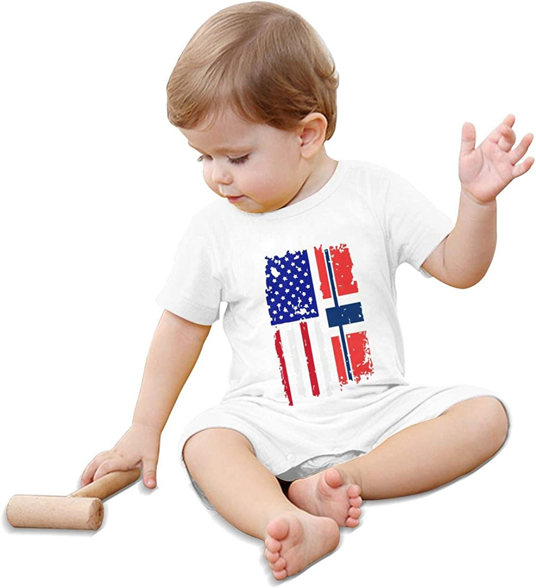Baby Girls Short Sleeved Coveralls Norway American USA Flag Pride Kid Pajamas