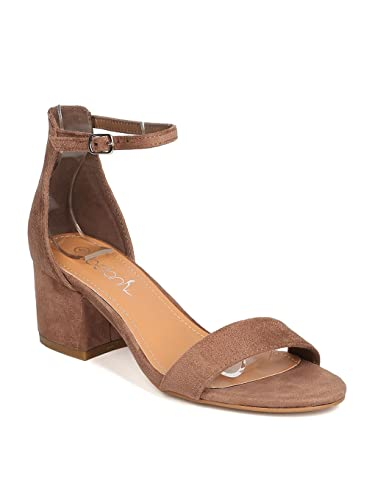 6e2b18cf9d Betani Women Faux Suede Open Toe Chunky Heel Ankle Strap Sandal GC20 -  Taupe (Size