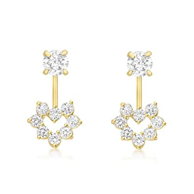 Carissima Gold Women's 9 ct Yellow Gold Cubic Zirconia Flower Drop Earrings m4Svcm