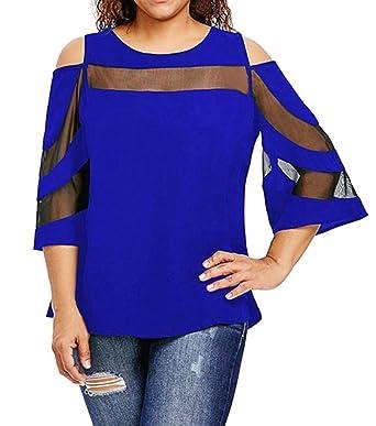 bbe1fbbf6b0 Vectry Große Größen Damen Oberteile Mädchen Sommer Cold Shoulder  Langarmshirt Pullover Tops Bluse Shirt Home Beach