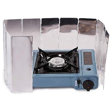 DMBHW 10 Placas arabrisas Plegable para Camping Cocina Estufa de Gas Escudo Pantalla de Viento Camping