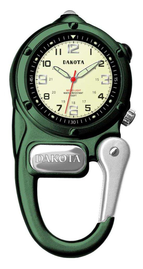 Dakota 3806-6 Mini Clip Microlight Watch, Green by Dakota (Image #1)