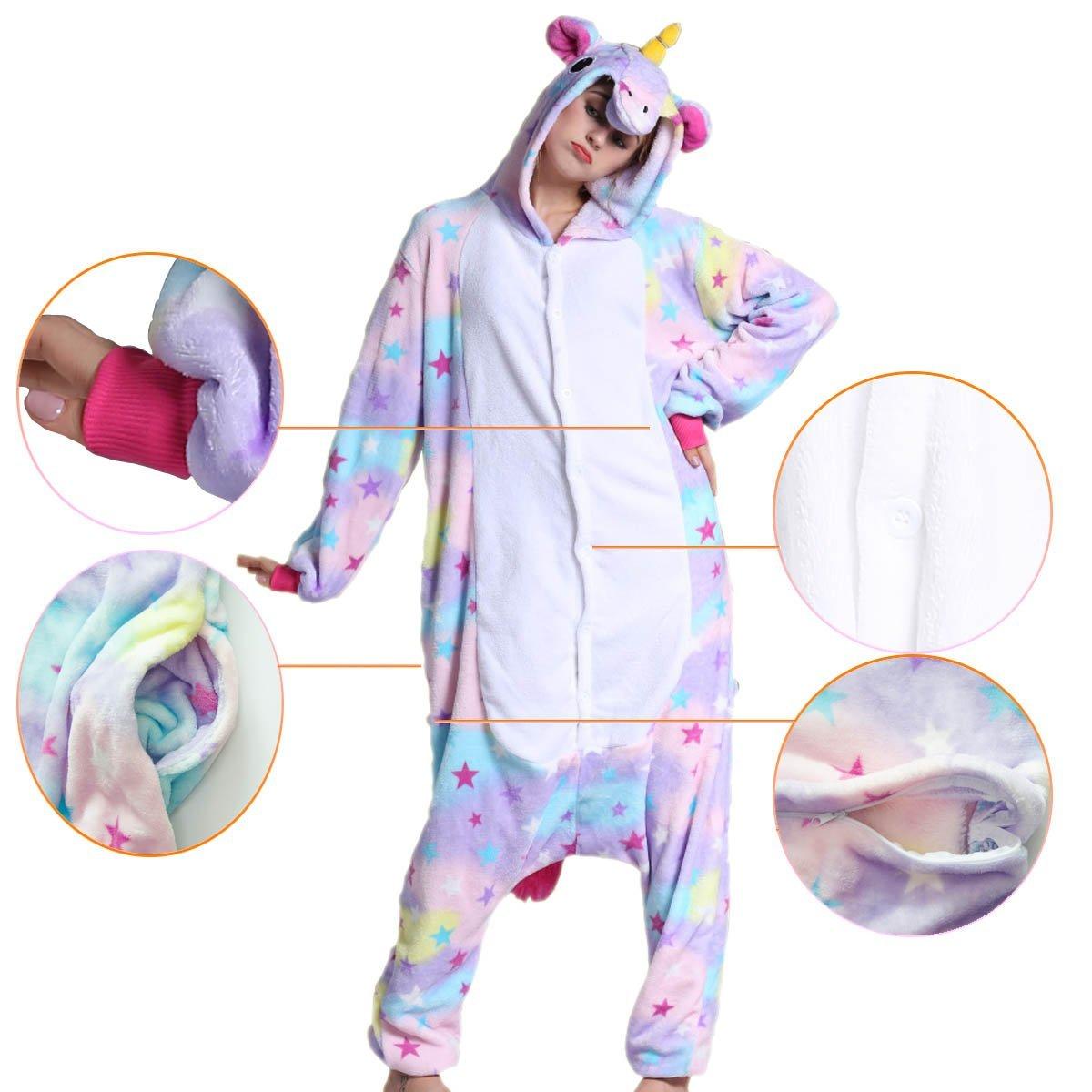 98bca457acb Adulto Unisex Franela Unicornio Animal Onesies Pijamas OnePiece Cosplay  (estrella, L): Amazon