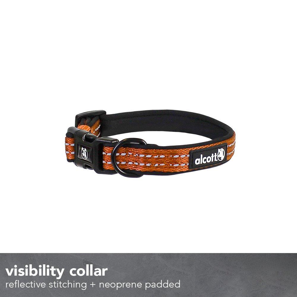 Neon Orange Alcott CLR LG ES NO Visibility Dog Collar with Reflective Stitching /& Neoprene Padding Large