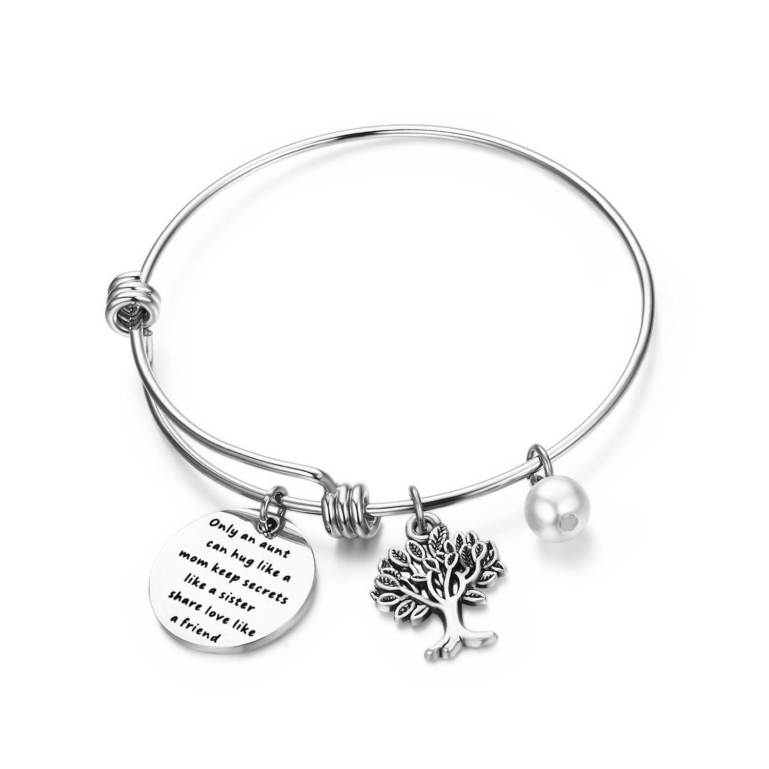 bobauna Aunt Bracelet with Family Tree Charm Only an Aunt Can Hug Like A Mom Keep Secrets Like A Sister Share Love Like A Friend Aunt Gifts from Niece