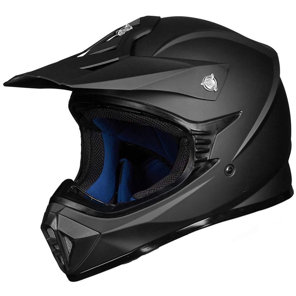 ILM Adult ATV Motocross Dirt Bike Motorcycle BMX MX Downhill Off-Road MTB Mountain Bike Helmet DOT Approved (MATTE BLACK, Adult-L) 128S-MB-L
