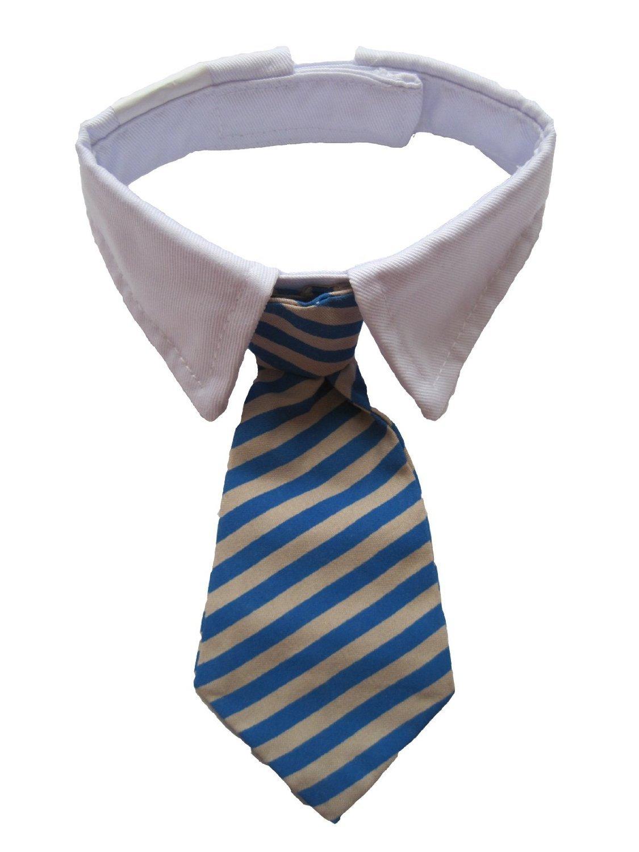 Dogloveit Small Dog Cat Pet Stripe Bow Tie Neck Tie White Collar Choose Color (Blue/Khaki, S)